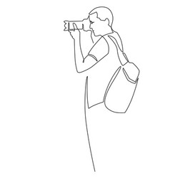 Photographer continuous one line man vector