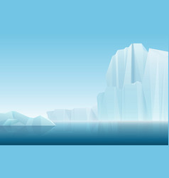 realistic soft fog arctic iceberg ice mountains vector image