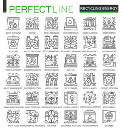 Recycling energy outline mini concept symbols vector