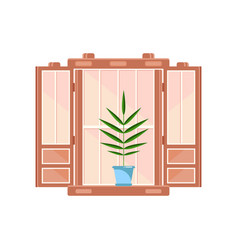 Retro wooden window frame with plant in blue pot vector