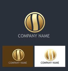round gold shape company logo vector image