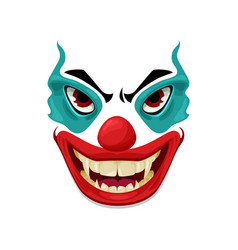 Scary clown face icon funster mask emoji vector