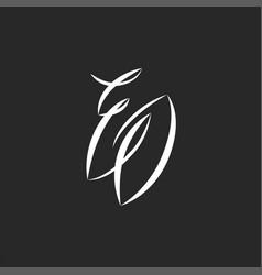 script eo initials monogram logo handwritten vector image