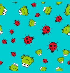 seamless pattern of frogs and ladybugs in cartoon vector image