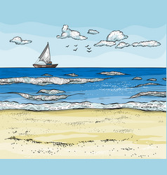seascape with sailboat on horizont and sand beach vector image