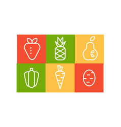 set fruits and vegetables in linear vector image