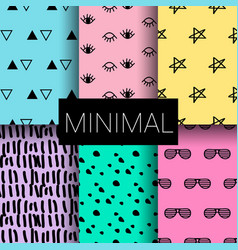 set minimal seamless patterns vector image