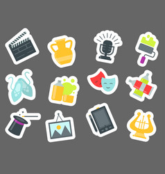 Set of art icons in flat design atist ink graphic vector