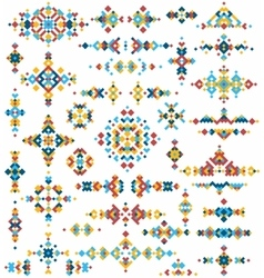 Set of bright geometric tribal design elements vector