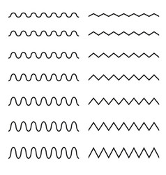 set of seamless lines wavy zigzag vector image