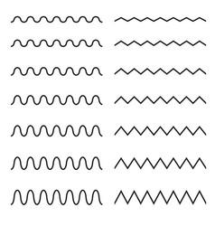 Set seamless lines wavy zigzag vector