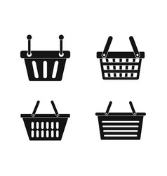 shopping basket icon set simple style vector image