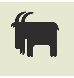 Silhouette of goat with horns standing sideways vector image
