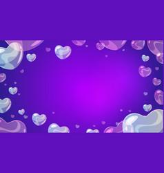 soap transparent heart-shaped bubbles vector image