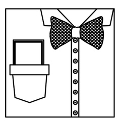Square border silhouette close up formal shirt vector