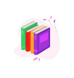 standing pile of closed books with colorful covers vector image