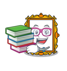 Student with book picture frame mascot cartoon vector