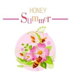 Summer icon with nature elements - wild rose vector