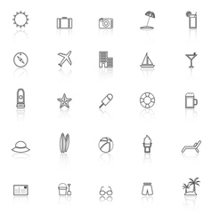 Summer line icons with reflect on white background vector image