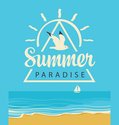 summer travel seascape with seagull and sailboat vector image