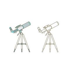 Telescope on tripod linear icon astronomer vector