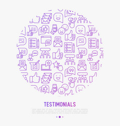 Testimonials and quote concept in circle vector