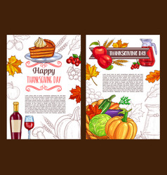 thanksgiving day sketch holiday poster vector image