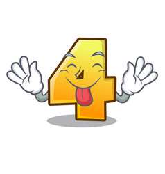 tongue out number four isolated on the mascot vector image