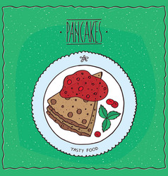 Top view on pancakes with red berries vector