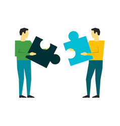 two people connecting puzzle elements on whote vector image