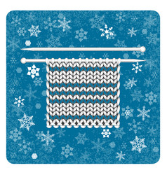vintage card knitting snowflakes background white vector image