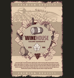 Vintage winery poster vector