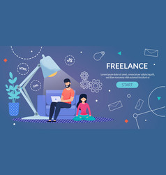 Webpage advertising freelance remote work at home vector