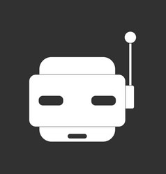 White icon on black background toy robot face vector