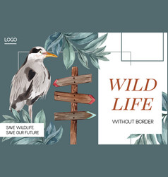 Winter animal frame design with bird leaves vector