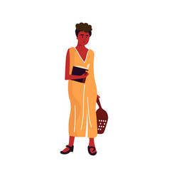 Woman with book cartoon female standing vector