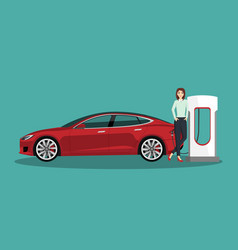 Woman with electric car vector