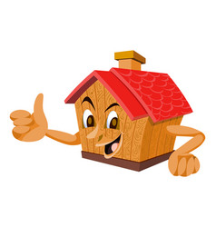 wooden house with a face vector image