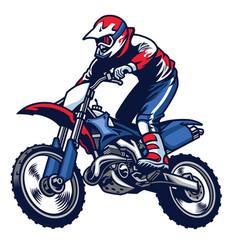motocross rider ride the motocross bike vector image