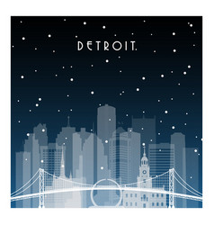 winter night in detroit night city in flat style vector image vector image