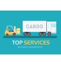 Cargo freight in flat design background concept vector
