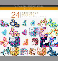 mega collection of 24 low poly circle triangle vector image