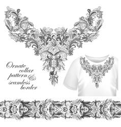 Neckline embroidery fashion print decor lace vector image
