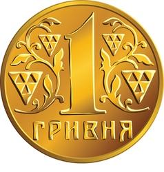 Ukrainian money gold coin one hryvnia vector image vector image