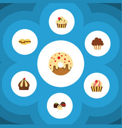 flat cake set of confectionery sweetmeat muffin vector image vector image