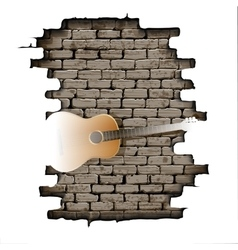 Guitar in the doorway of brick wall vector image