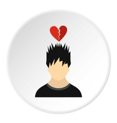 Male avatar and broken heart icon flat style vector image