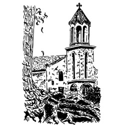 old european church hand drawn ink sketch vector image vector image