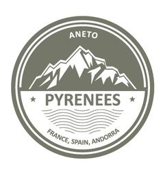Pyrenees Mountains - Snowbound Aneto peak round vector image