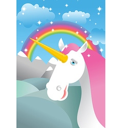 Unicorn on landscape Rainbow Fields and meadows vector image vector image